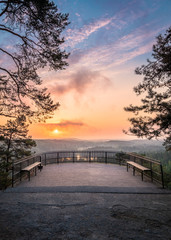 Scenic landscape with sunrise and viewpoint at autumn morning in Finland