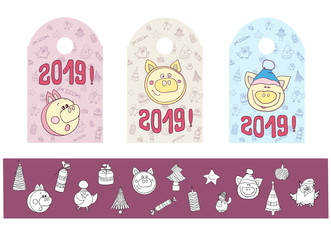 Badge set with a pig new year symbol