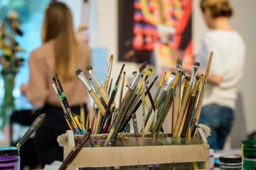 Big set of artistic brushes