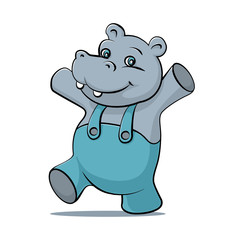 Little hippopotamus fun dancing and smiling. Cartoon character. Funny Hippopotamus