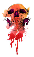 Canvas Prints Watercolor Skull memento mori
