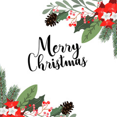 Christmas bouquets arranged from red poinsettia flowers, fir branch, agonis, seeded eucalyptus, emerald parvifolia. Happy holiday greenery. Watercolor style set. All elements are isolated and editable