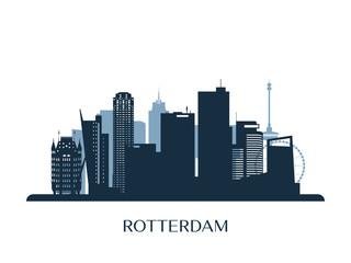 Deurstickers Rotterdam Rotterdam skyline, monochrome silhouette. Vector illustration.