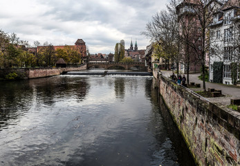 View of river Pegnitz, Nuremberg, in autumn day