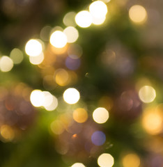 Blurred light bokeh with Christmas tree