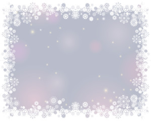 Snow white frame on a blurry light gray background. Abstract winter background for your Merry Christmas and Happy New Year frame design. Vector illustration
