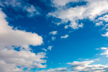 wonderful winter sky with fluffy clouds. beautiful nature background