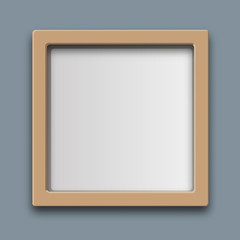 Realistic rectangular frame. Isolated on grey background. Wood, plastic. Square. Space for an image or label. Vector illustration.