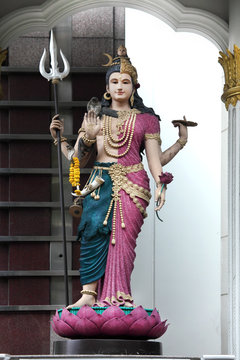 Close up outdoor Shiva statue of Hinduism God in Bangkok, Thailand