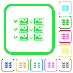Single image selection with radio buttons vivid colored flat icons