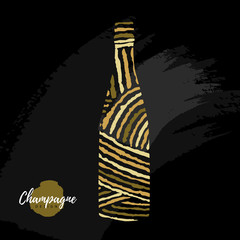 Holiday greeting postcard with champagne bottle in modern simple style