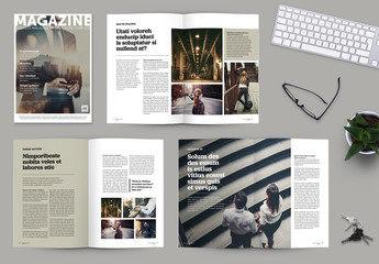 Brochure/Magazine Layout with Olive Green Accents