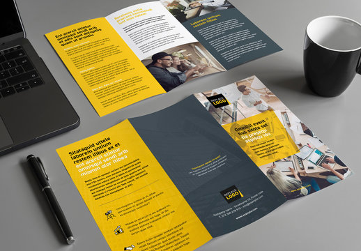 Business Brochure Layout with Yellow Accents