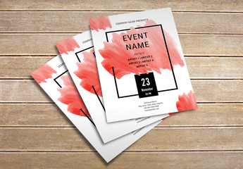 Event Flyer Layout with Watercolor Accents