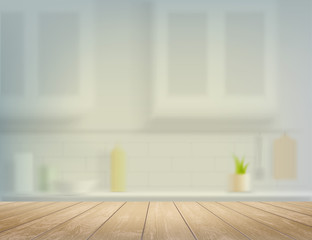 Wooden table on a defocused kitchen bench interior background.