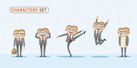 Set of casual emotions and expressions of businessman in office. Casual office look character.