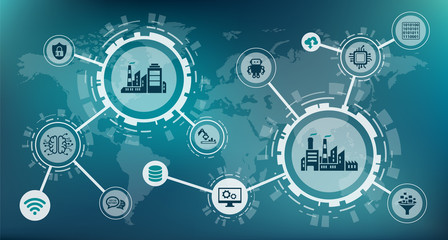 industrial internet of things / industry 4.0 / business automation - vector illustration