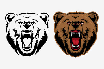 Grizzly Bear Mascot Head Vector Graphic. Animal