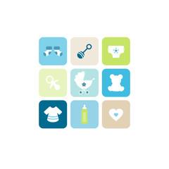 Baby Card 9 Symbols Boy Blue/Green/Beige