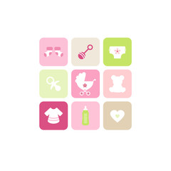 Baby Card 9 Symbols Girl Pink/Green/Beige