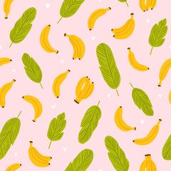 Banana seamless pattern on pink background