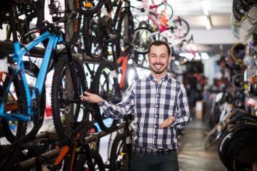Male customer in bike shop