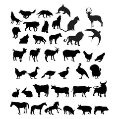 ANIMAL SILHOUTE logo design template vector