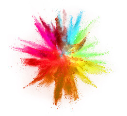 Colored powder explosion on white background