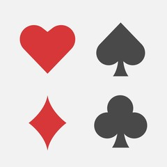 Playing cards symbols heart club spade diamond vector icon