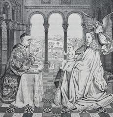 The Virgin by Jean van Eyck engraved in a vintage book History of Painters, author Jules Benouard, 1864, Paris