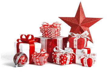 Christmas gift boxes isolated on white background