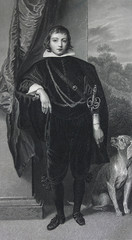 Prince Rupert von der Pfalz by Anthony van Dyck engraved in a vintage book Picture Galleries of Europe, edition of M.S. Wolf, vol. 1, 1862, St. Petersburg