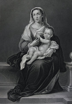 Madonna and child by Bartolomé Esteban Murillo engraved in a vintage book Picture Galleries of Europe, edition of M.S. Wolf, vol. 1, 1862, St. Petersburg