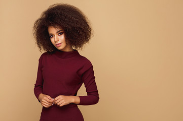 Wall Mural - Beauty portrait of fashion young black woman with afro hairstyle