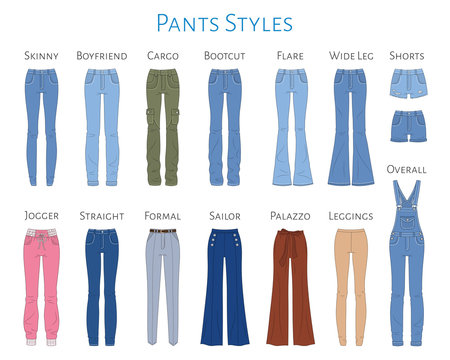 Women s pants collection, vector sketch illustration.