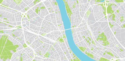 Urban vector city map of Bonn, Germany