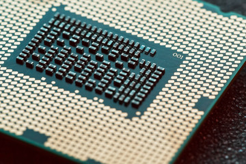 Close-up of CPU Chip Processor. Selective Focus