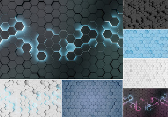 6 Abstract Hexagon Patterns