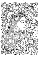 Page for coloring book. Girl and  flowers. Doodles in black and white