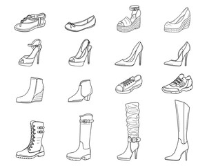 Women shoes collection, vector sketch illustration