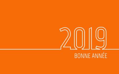 Carte de vœux 2019 - Bonne Année orange