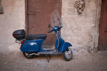 Palermo, Italy - September 06, 2018 : View of a vespa scooter