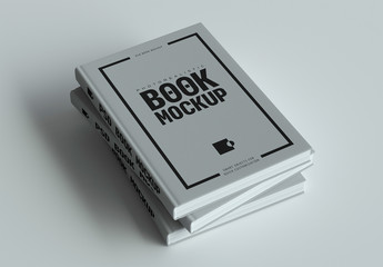 Stack of Three Hardcover Books Mock-Up