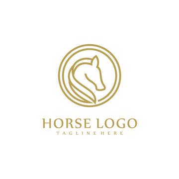 Minimalist Horse logo design concept, Animal logo template