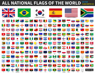All national flags of the world . Ratio 4 : 6 design with float sticky note paper style . Elements vector