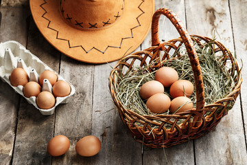 chicken eggs in the basket