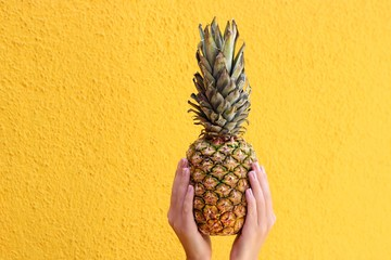 Close up of woman's hands holding pineapple against yellow wall
