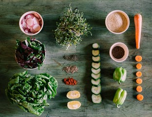 Overhead view of ingredients on table