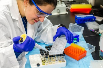 A woman scientist performing research work in laboratory