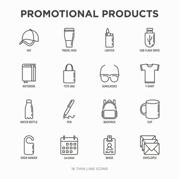 Promotional products thin line icons set: notebook, tote bag, sunglasses, t-shirt, water bottle, pen, backpack, cup, hat, travel mug, usb, lighter, calendar. Modern vector illustration.
